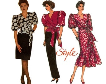 Style 4908 Puff Sleeve Wrap Blouse & Skirt 80s Vintage Sewing Pattern Size 12 14 16 Bust 34 36 38 inches UNCUT Factory Folded