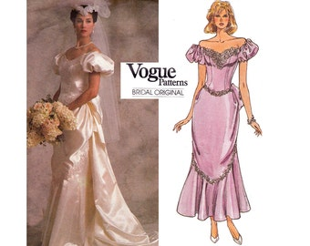 80s Wedding Dress Pattern Vogue Bridal Original 1828 Gown with Train or Ankle Length Flounce Draping Puff Sleeves Size 12 Bust 34 inches
