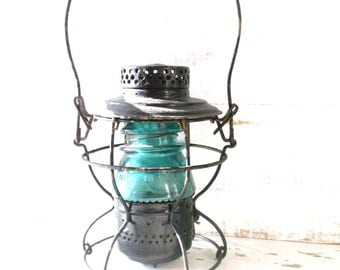 Antique RailRoad Lantern. Vintage Handlan-Buck RR Kerosene Lantern. Altered Electric Lamp.
