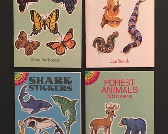 Vtg Lot Of 4 Dover Sticker Books - Butterflies Snakes Sharks and Forest Animals