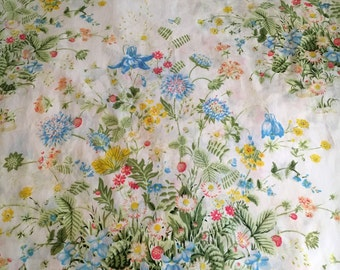 Vtg Twin Flat Bed Sheet - Multi Colored Wildflowers - Pequot