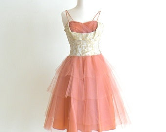 1950s Prom Dress, 50s Dress, Rockabilly Dress, 1950s Party Dress, Brocade and Tulle Dress, XS