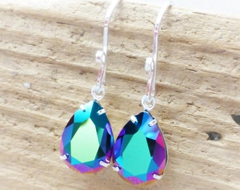 Prism Swarovski Crystal Earrings, Metallic Green, Blue, Purple, Magenta Rainbow Rhinestone Pear Earrings, Sterling Silver Teardrops, Gift