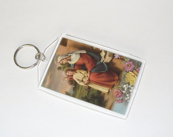 Vintage Prayer Card Keychain