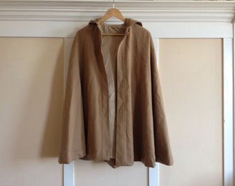camel hooded wool cape - medium/large