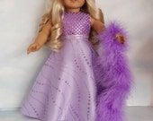 18 inch doll clothes - #243 Lilac Glitter Gown handmade to fit the American Girl Doll - FREE SHIPPING