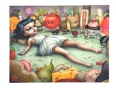 The Epicure - Monday the Food Girl - Limited Edition signed 11x14 pop surrealism Fine Art Print by Mab Graves
