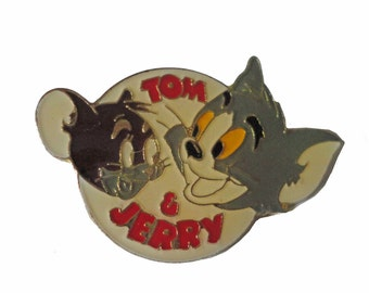 TOM & JERRY vintage enamel pin saturday morning cartoons badge lapel