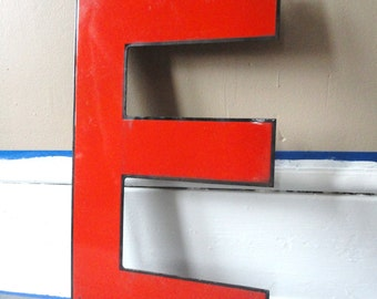 Large Porcelain Vintage Metal Sign Letter - E