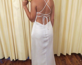 Vintage Sexy Simple White Backless Strap Wedding Dress with Tulle Lace Detailed Bust Long Full Floor Length