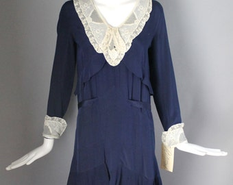 1920s ART DECO navy blue rayon tiered & pleated belted DAY dress w/ lace yoke flapper great gatsby vintage 20s