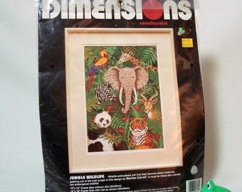 Needlepoint Kit Wild Animals NIP Jungle Tiger Elephant Parrot Dimensions Unopened 1992