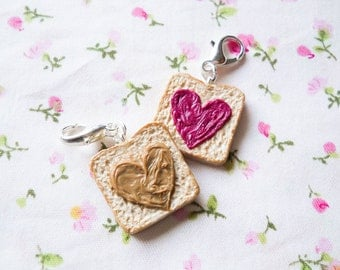 PB & J Toast Charms, Peanut Butter and Jam, Polymer Clay Charms, Stitch Marker, Charms, BFF, Peanut Butter, Jelly, Food Charms, Toast