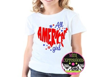 All American Girl Red, White, and Blue Shirt or Bodysuit