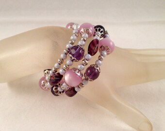 Shades of Purple and Silver Wrap Bracelet, Bangle Bracelet, Wraps Around 3.75 Times and Fits All Sizes, One of a Kind