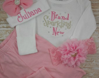 Newborn, Baby girl, coming home outfit, Brand Sparkling New, Newborn girl outfit, baby girl bodysuit, baby girl clothes, Take home outfit