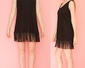 1980s Fringe Babyrib Sleeveless Black Mini Party Dress Size L