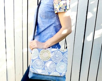 Messenger Bag, denim and upholstery fabric. Pocketbook. School bag. Cross body strap. pocketbook. Ipad. Upcycled. Jeans bag.