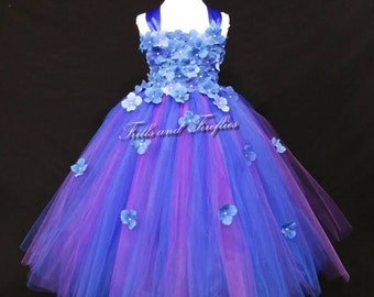 Royal Blue and Plum Flower Girl Dress - Hydrangea Flowergirl Dress.. Bridesmaid Dress ...OTHER COLORS AVAILABLE, Sizes Baby up to Size 12