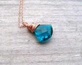 Paraiba Blue Necklace,  Rose Gold Wire Wrapped,  Quartz  Briolette, Fan Shape Teal Stone Pendant, Paraiba Jewelry, Pink Gold Pendant