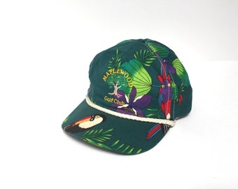 HAWAIIAN hat vintage green and yellow 90s mid 90s SNAPBACK cap diesel power