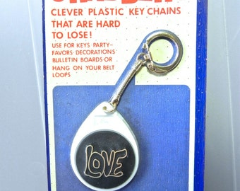 Vintage 60s Key Ring , Love Pendant NIP ,1960s key chain - on sale