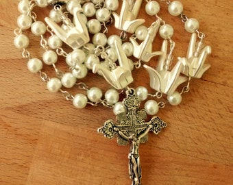 Two Toned Silver Pearl and Origami Crane Rosary