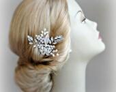 Crystal and Pearl Hair Comb, Wedding Comb, Boho Bridal Comb - CARINA
