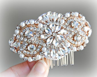 Rose Gold Hair Comb, Crystal  and Pearl Wedding Comb, Rhinestone Bridal Comb, Gold, Silver -  AMELIE COMB