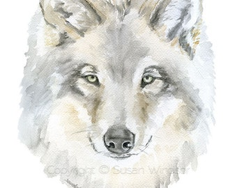 Grey Wolf Watercolor Painting 8.5 x 11 Fine Art Giclee Reproduction - Woodland Animal Art Print 8x10