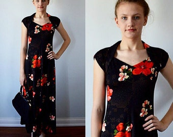 Vintage Maxi Dress, Maxi Dress, 1960s Maxi Dress, Black Floral Dress, 1960s Dress, Summer Dress, Casual Dress, Vintage Dress