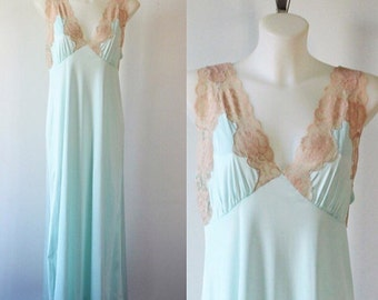 Vintage Nightgown, Vintage Mint Green Nightgown, French Maid. 1980s Nightgown, Vintage Lingerie, Romantic