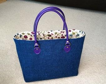 Blue Harris Tweed Tote bag