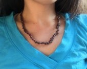 Garnet chip necklace - January birthstone necklace , garnet choker 18 inches long