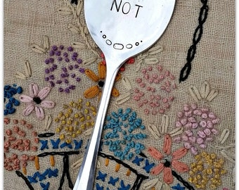 Forget Me Not, Vintage Spoon, Garden Marker, Memorial, Hand Stamped, Plant Stake, Silverware Stake, Flower Pick, Remembrance, Pet or People