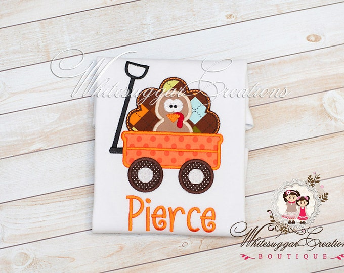Thanksgiving Turkey in a Wagon Shirt - Boys Embroidered Shirt - Custom Thanksgiving Boy Shirt - Baby Boy Holiday Outfit