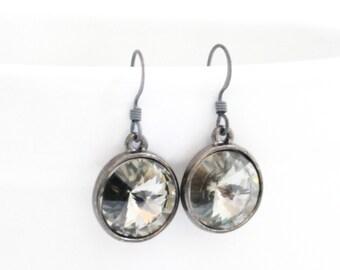 Charcoal Rivoli Swarovski Earrings, Gray Drop Earring, Grey Dangle Earring, Smokey Bridesmaid Earring, Oxidized Silver Earring, Black Earing