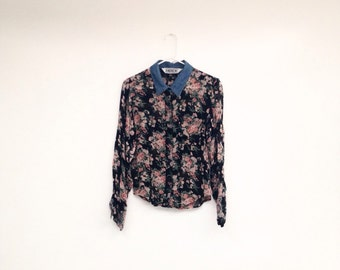 Vintage 1990s Sheer Floral Denim Collared Button Down Shirt