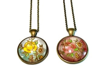 Rose Floral Pendant Necklaces in Red or Yellow, Mother's Day Gift for Mom