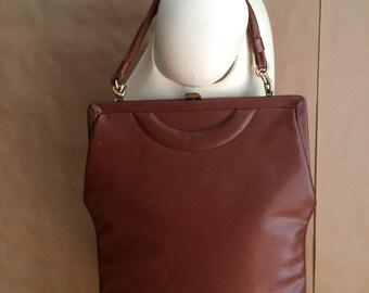 vintage 40's brown vinyl handbag / purse / top handle / embellished detail  / bohemian