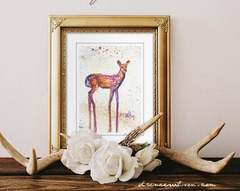 Rising Fawn, Watercolor Animal Prints, Woodland, Fawn Painting -Watercolor - Deer Painting - Rustic Home Decorations- Wall Art - Home Decor