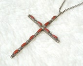 Coral Cross Pendant Sterling Silver Southwestern Zuni Vintage Old Hand Made Native American