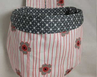 Stay Put Pouch Sewing Scrap  Bag Red & Gray Floral