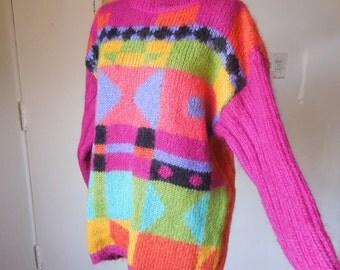 Vintage 80's Pullover Sweater, Chunky Knit, Bright Geometric Print, Hot Pink, Orange, Aqua and Black Knit Pullover, Long Sleeve, Medium