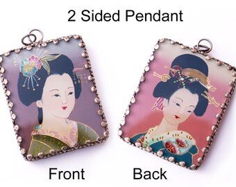 Japanese Geisha Pendant Oriental Women Double Sided Statement Jewelry