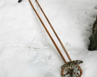 Antique Bamboo and Leather Snowshoe Poles