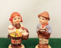 Miniature Hummel Style Figurines German Boy and Girl Bisque Porcelain 2 inch