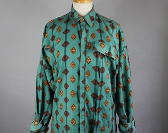 Vintage 80s Women's Green Tribal Navajo Design Soft Cotton Spring Summer Wear to Work Long Sleeved Button Down Shirt Blouse