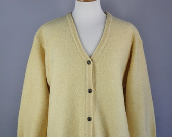 Vintage 90s Women's Boiled Wool Yellow Fall Winter Back to School Cardigan Sweater