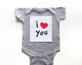 I Heart You Valentines Day Shirt, Lined Paper Love Note Onesie, Cute Kids Clothes, New Baby Bodysuit, Baby Boy Clothes, Baby Girl Clothes